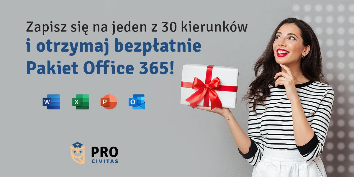 Pakiet programów Microsoft Office 365 bezpłatnie dla słuchaczy szkoły - PRO Civitas